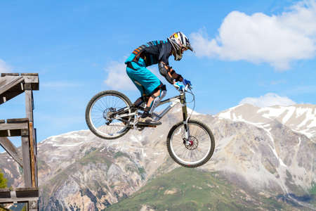 Photo for descent with mountain bike on a trail in the mountains - Royalty Free Image