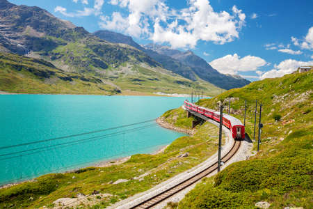 Photo for red train - Bernina Pass - Switzerland - Royalty Free Image