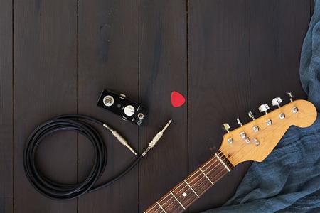 Photo pour Electric guitar on dark background - image libre de droit