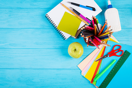 Photo for Set of colorful school supplies, books and notebooks. Stationery accessories. Top View. - Royalty Free Image