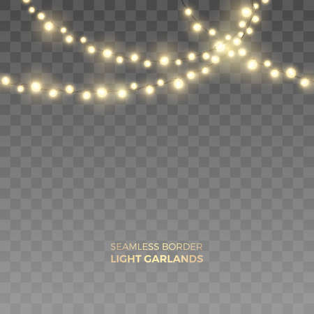 Illustration pour Vector seamless horizontal border of realistic yellow light garlands. Festive decoration with shiny Christmas lights. Glowing bulbs of the different sizes isolated on the transparent background. - image libre de droit