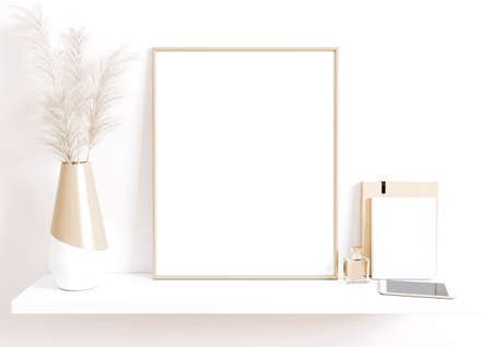 Photo pour Single 8x10 Vertical Beige Frame mockup with boho plant in vase and books, phone and perfume on white shelf and clean white wall. 3D Rendering. - image libre de droit