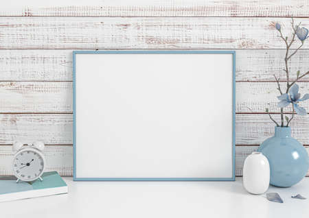 Photo pour Single 8x10 Horizontal Blue Frame mockup with book, clock and blue vase on white floor and rustic wooden white wall behind it. Empty picture frame mockup on white glossy floor. 3d Rendering. - image libre de droit