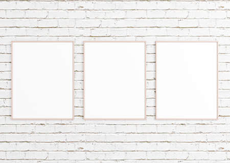 Photo pour Triple 8x10 Vertical Pink Frame mockup on white brick wall. Empty picture frame mockup on white brick background. 3D Rendering. - image libre de droit