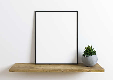 Photo for Black horizontal frame mockup on wooden floor with green plant in a vase and white wall behind it. Empty poster frame mockup with plant. Empty picture frame mockup on wooden floor and white background - Royalty Free Image