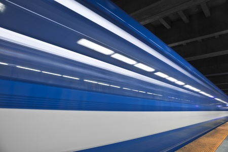 Just a close shot and almost abstract of a metro passing by  Long exposure and no people in the shot  This image create some nice white stripes  の写真素材