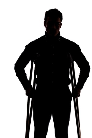 Photo pour Man with broken leg in silhouette isolated over white background - image libre de droit