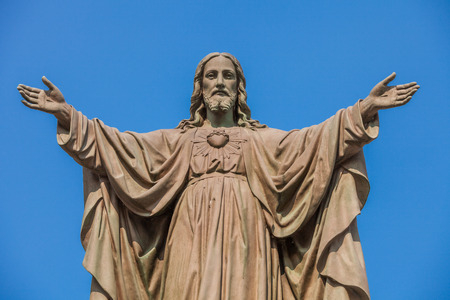 Photo for Outdoor Statue of Jesus with Open Arms - Royalty Free Image