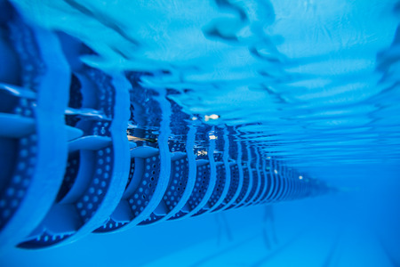Plastic Swimming Pool Floating Wave-Breaking Lane Line detail from Underwater