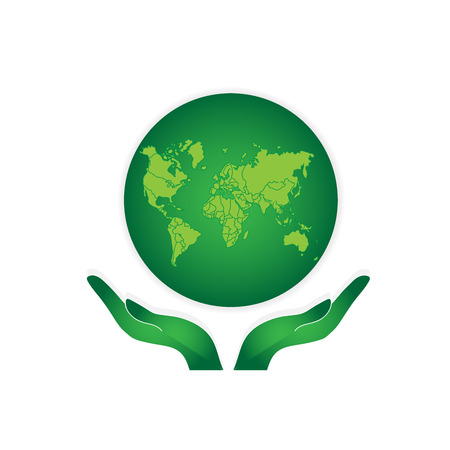 Illustration pour Hands Holding The Green Earth Globe Vector - image libre de droit