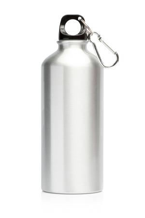 Photo pour Aluminum bottle water isolated white background - image libre de droit