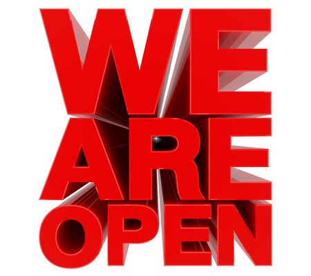 Photo pour WE ARE OPEN red word on white background 3d rendering - image libre de droit