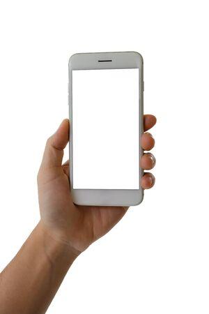 Photo pour Man hand holding smartphone with blank screen isolated on white background - image libre de droit