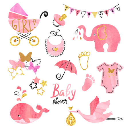 Illustration for Watercolor Baby Shower girl set. Collection of vector design elements. - Royalty Free Image