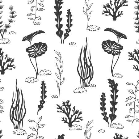 Illustration pour Seamless pattern with corals, seaweeds, shells and stones silhouettes. Underwater algae. Vector black and white marine background. - image libre de droit