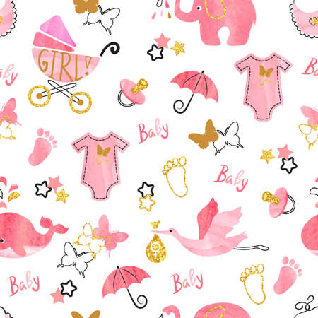 Ilustración de Baby shower girl seamless pattern. Vector watercolor kids background. - Imagen libre de derechos