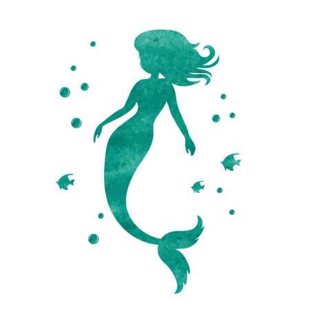 Watercolor mermaid silhouette. Vector illustration.
