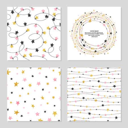 Ilustración de Set of celebration patterns with stars. Vector backgrounds. - Imagen libre de derechos