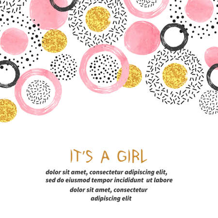 Illustration for Baby shower girl card with abstract pink and glittering golden circles. - Royalty Free Image