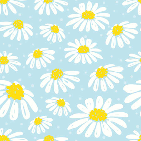 Illustration pour A Seamless daisy pattern. Vector background with white chamomiles on blue. - image libre de droit
