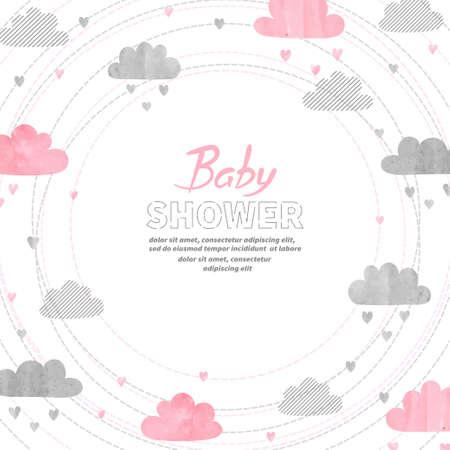 Ilustración de Baby shower girl invitation card design with watercolor clouds. - Imagen libre de derechos