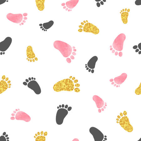 Illustration pour Seamless pattern with pink and golden baby footprints. Vector background. - image libre de droit