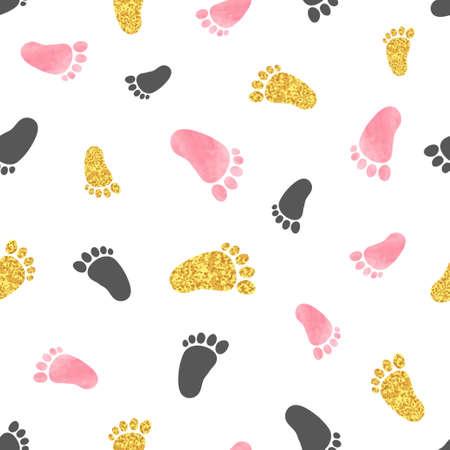Ilustración de Seamless pattern with pink and golden baby footprints. Vector background. - Imagen libre de derechos