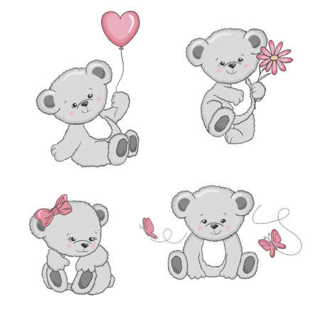 Illustration pour Set of cute cartoon Teddy Bears isolated on white background. Vector illustration. - image libre de droit