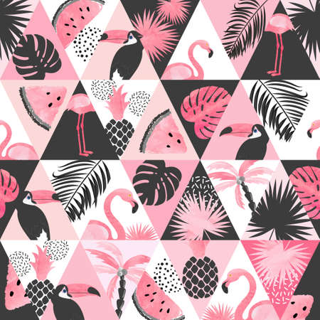 Illustration for Seamless watercolor tropical pattern in patchwork style. Vector trendy background with flamingo, palm leaves, watermelon. - Royalty Free Image