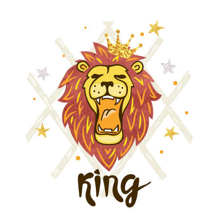 Roaring lion head  Vector illustration : Royalty-free vector graphics