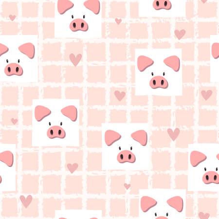 Illustration pour Seamless pink vector pattern with cute pigs. Baby print. - image libre de droit