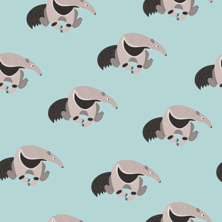 Illustration pour Seamless pattern with cute cartoon ant eater. Vector ant bear background for kids. - image libre de droit