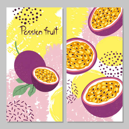 Illustration for Passion fruit vector illustration. Bright summer print. - Royalty Free Image