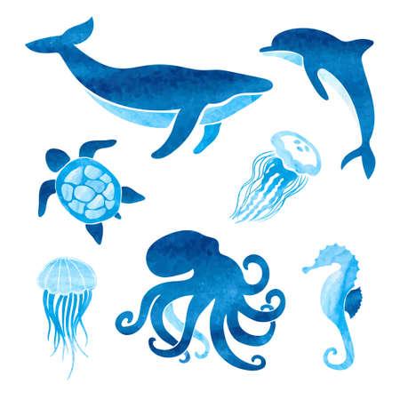 Illustration pour Watercolor sea animals set. Vector marine illustration of whale, dolphin, octopus, turtle, jellyfish. - image libre de droit