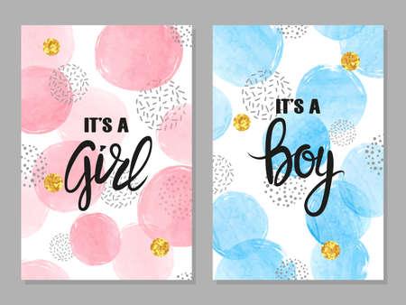Foto de Baby shower card set. Watercolor invitation cards design for baby shower party - girl and boy - Imagen libre de derechos