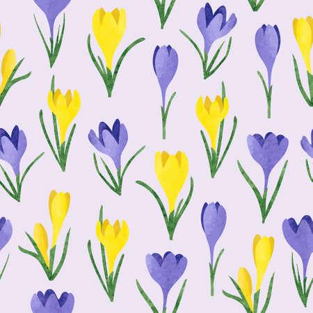 Illustration pour Seamless vector watercolor yellow and purple crocus flowers pattern. Spring illustration. - image libre de droit