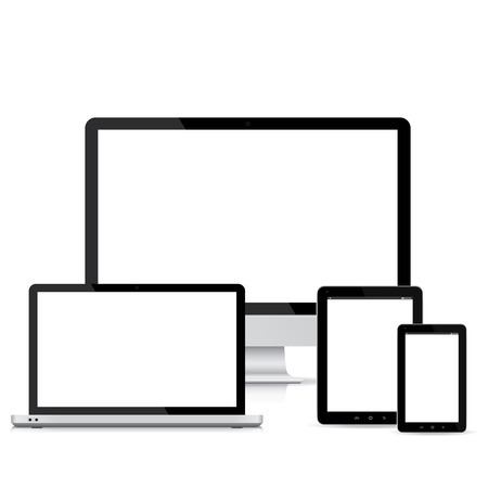 Illustration for popular full responsive web design electronic devices  - Royalty Free Image
