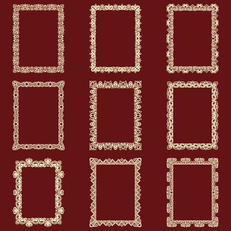 Illustration for Set of rectangular vintage frames isolated background. Vector design elements that can be cut with a laser. A set of frames made of decorative lace borders. - Royalty Free Image