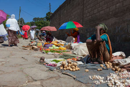 ADDIS ABABA, Ethiopia - December 2014: Sale of vegetables and fruit in the Ethiopian capital