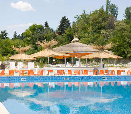 SAINT CONSTANTINE AND SAINT HELEN, BULGAIRA - MAY 05, 2015: swimming pool on the beach of Grand Hotel Varna. St. Constantine and St. Helen is the oldest resort of Bulgaria, exist from 1908 year.