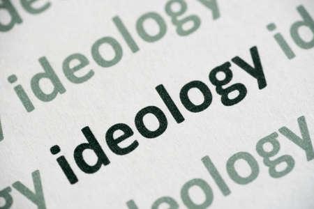 word ideology printed on white paper macro
