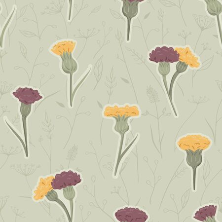 Vector Hand Drawn Meadow Florals in Green and Reds seamless pattern background.