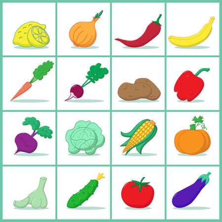 Foto für Icons of fruits and vegetables  - Vector illustration - Lizenzfreies Bild