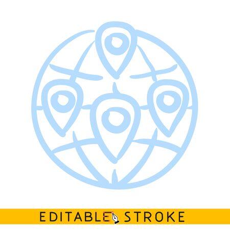 Ilustración de Glob with geo location pins icon. Line doodle sketch. Editable stroke icon. - Imagen libre de derechos
