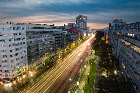 Photo pour Bucharest, Romania - August 23, 2014: Bucharest downtown - aerial view. - image libre de droit