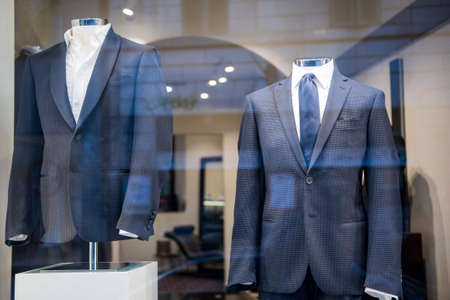 Men suits in a luxury clothing store