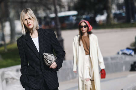 Paris, France -February 27, 2019: Street style outfit -  Linda Tol before a fashion show during Paris Fashion Week - PFWFW19