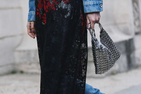 Paris, France - February 28, 2019: Street style - metal purse in detail after a fashion show during Paris Fashion Week - PFWFW19