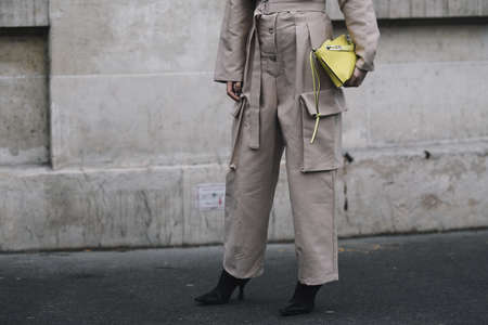Paris, France - March 01, 2019: Street style outfit -  Linda Tol before a fashion show during Paris Fashion Week - PFWFW19