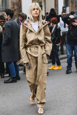 Milan, Italy - February 23, 2019: Street style – Influencer Linda Tol before a fashion show during Milan Fashion Week - MFWFW19